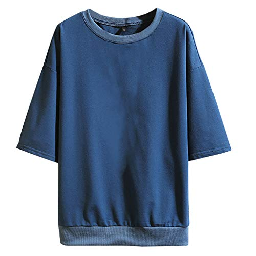 Men's Summer Fashion Casual Pure Color O-Neck Half Sleeves T-Shirts Top Blouse Blue