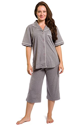 Fishers Finery Women's EcoFabric Capri Pajama Set; Button Down,Light Heather ()