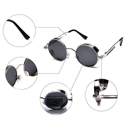 07528a902ab ROCKNIGHT Gothic Steampunk Polarized Sunglasses For Men Women UV Protection  Metal Frame