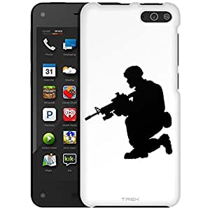 Amazon Fire Case, Slim Fit Snap On Cover by Trek Silhouette Soldier on White Case