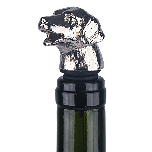 CKB Ltd Dog Wine Bottle Stopper And Pourer - Made From Heavy Duty Stainless Steel, Zinc Alloy With A Silicone Bung That Will Fit Most Wine And Spirits Bottles