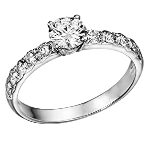 GIA Certified 14k white-gold Round Cut Diamond Engagement Ring (1.05 cttw, K Color, VVS2 Clarity)