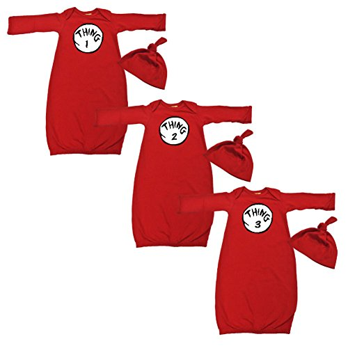 [We Match! Baby Adorable Thing 1, 2 & 3 Triplets Layette Gown & Cap Set Super Soft Baby Outfits] (Good Triplet Costumes)