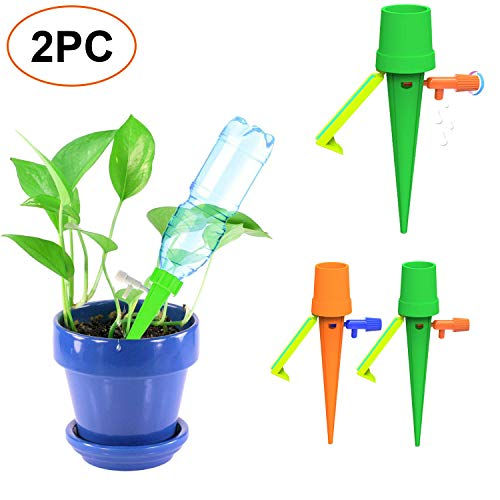 - Plant Self Watering Spikes Bulbs Globes Stakes System,Vacation Plant Waterer Nannies Pot Self Drip Irrigation Slow Release Devices for Plants Germination Kits (2Pack)