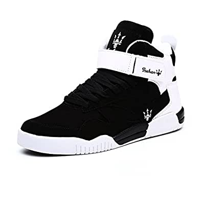 Leader Show (Tm) Men's Autumn & Winter Fashion Sneakers High Top Breathable Athletic Ankle Sports Shoes #1106 (9, Black)