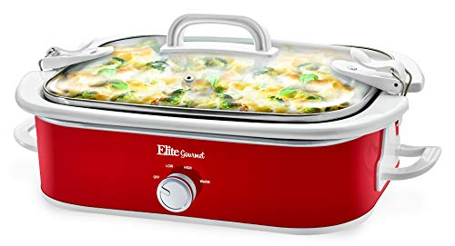 Elite Gourmet MST-5240 Casserole Slow Cooker, Locking Lid, Adjustable Temp, Keep Warm Dishwasher-Safe Glass Lid & Casserole Dish, 3.5QtCapacity, 3.5Qt Capacity, Red (Crock Pot Casserole Slow Cooker)