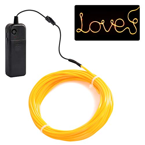jiguoor EL Wire with Battery Pack 16.4ft/ 5M Super Bright Light Neon Tube Neon Glowing strobing of 360 Degrees of Illumination for Party Decoration (Yellow,16.4ft/ - Neon Bright Super Light