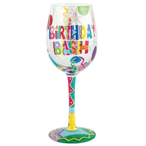 "Designs by Lolita ""Birthday Bash"" Hand-painted Artisan Wine Glass, 15 oz."