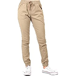 Red Fox Women's Twill Jogger Pants Large Beige 482