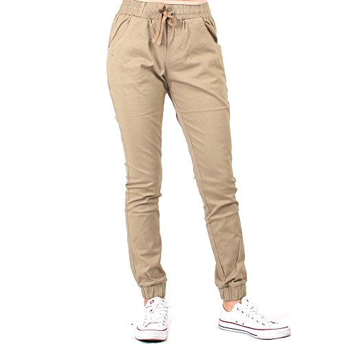 Red Fox Women's Twill Jogger Pants Large Beige 482