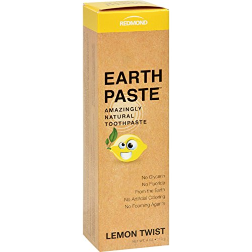 Lemon Natural Toothpaste - Redmond Earthpaste - Natural Non-Fluoride Toothpaste, LemonTwist, 4 Ounce Tube (4 Pack)