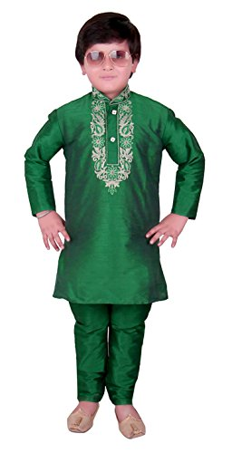Boys Indian Raw Silk kurta with Churidar for EID Ramadan & Bollywood theme PARTY kids Costume 922 (2 (2 yrs), Green)