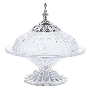 Opalina Round Shape Glass Serveware - Silver