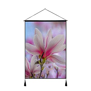 DZ.HAIKA Pink Magnolia Flowers Spring - Natural Scenery Art Print Cotton Linen Home Wall Decor Hanging Posters(18x26inch) 118