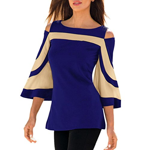 CUCUHAM Women Cold Shoulder Long Sleeve Sweatshirt Pullover Tops Blouse Shirt(Blue,US:6/CN:M)