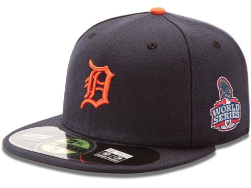 MLB Detroit Tigers Road On-Field Cap, Navy, 7 1/2 Detroit Tigers World Series