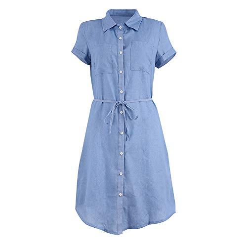 Quealent Women's Plus Size Long Short Sleeve Dress Casual Loose Pocket T-Shirt Dress Sky Blue by Quealent (Image #3)