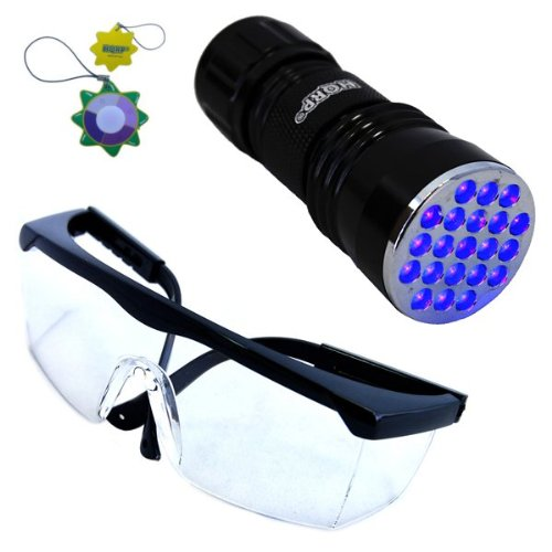 (HQRP LED Ultra Violet Blacklight Flashlight and Protective Clear Tint Glasses for Crime Scene Investigation plus HQRP UV Meter)