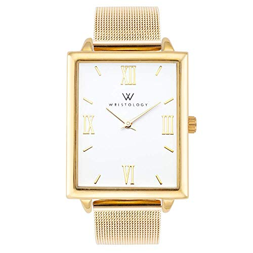 (WRISTOLOGY Naomi Womens Gold Rectangle Boyfriend Watch Metal Mesh (Gold Mesh))