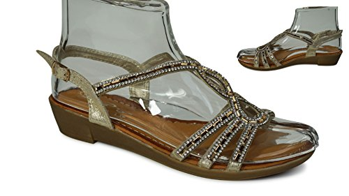 Damen Sandalen Sandaletten Glitzer Zehentrenner ST33 Riemchen Gold ST568