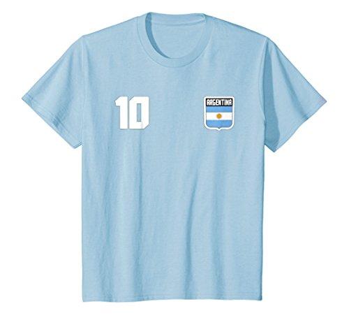 Kids Argentine T-shirt Argentinian Flag Soccer Futbol Fan Jersey 4 Baby Blue