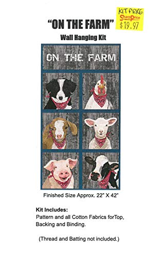 "Quilt Kit - 22"" x 42""""On The Farm"" Farm Animals Bandanas Sheep Goat Cow Pig Dog Chicken Wall Hanging Wallhanging Quilting Kit Quilts - Sold by The Kit (M416.14)"
