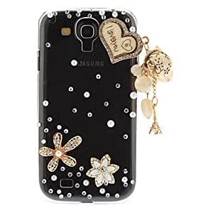 LZX Stylish Flower and Heart Artificial Pearl Plastic Hard Back Case for Samsung Galaxy S4 I9500