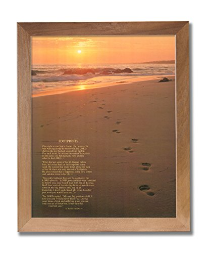 Footprints Poster in the Sand Motivational Wall Picture Honey Framed Art Print