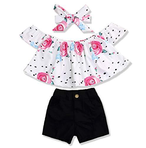 Toddler Infant Baby Girl Shorts Set Floral Ruffle Off Shoulder Tops Jeans/Denim Shorts Summer Outfits Clothing Set (Black +Floral, 6-12 Months)