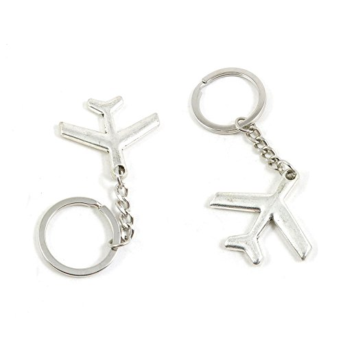 100 PCS Airplane Aircraft Keychain Keyring Jewelry Making Charms Door Car Key Tag Chain Ring G9HT0T by ChinaTownUS