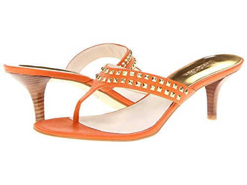 Michael Kors Women's Alexi Studded Leather Thong Sandals Tangerine Size 10