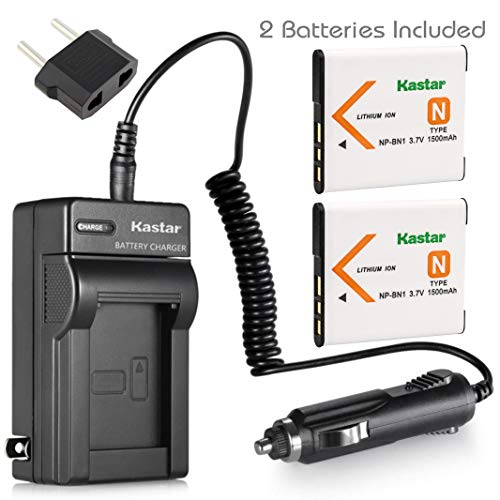 Kastar Battery (2-Pack) and Charger Kit for NP-BN1, BC-CSN work with Sony Cyber-shot DSC-QX10,DSC-QX100,DSC-T99,DSC-T110,DSC-TF1,DSC-TX5,TX7,TX9,DSC-TX10,DSC-TX20,DSC-TX30,DSC-TX55,DSC-TX66,DSC-TX100V