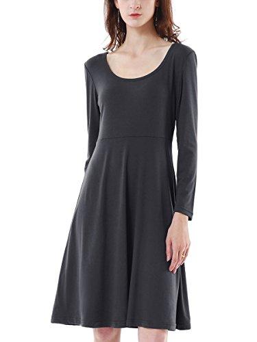 Patineuse Evase Longue Summer Mae Femme Uni Mi pour Vintage Robe Gris Longue Manche w6xzqI1x