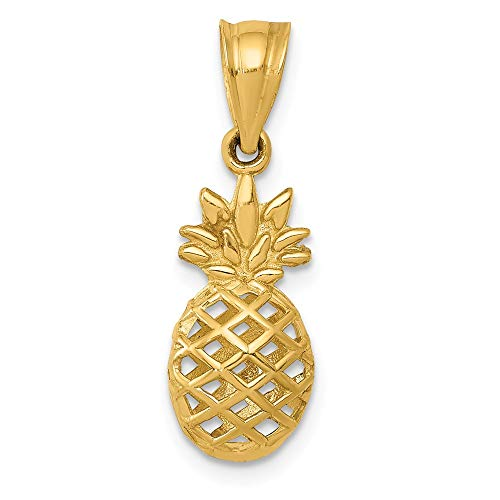 14k Gold Food Charm - 14k Yellow Gold 3d Pineapple Pendant Charm Necklace Food Drink Fine Jewelry Gifts For Women For Her