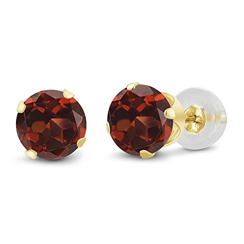 Gem Stone King 14K Yellow Gold Red Garnet Women's Stud Earrings 2.00 Cttw Gemstone Birthstone Round 6MM ()