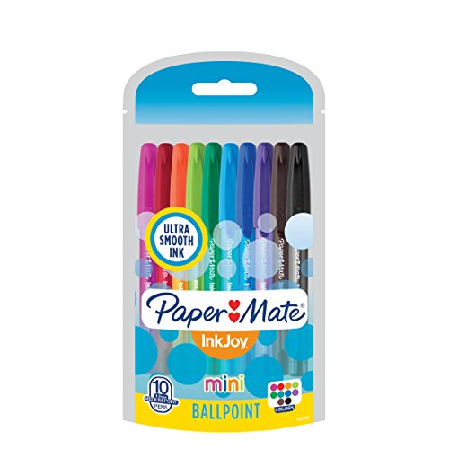 Paper Mate InkJoy Mini Ballpoint Pens, Medium Point, Assorted, 10 Pack (1951382) (Papermate Paper Plastic)