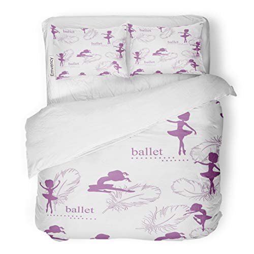 Tarolo Bedding Duvet Cover Set Girl Pattern Silhouette of Ballerinas and Feather Swan Retro Adorable Airy 3 Piece Twin 68
