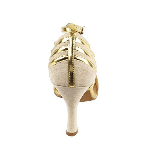 """50 Shades Of Tan Dance Kleid Schuhe Collection-II, Komfort Abendkleid Hochzeit Pumps: Ballroom Schuhe für Latin, Tango, Salsa, Swing, Kunst von Party Party (2,5 """", 3"""" & 3,5 """"Heels) Sera1700 Beige Nubuk / Gold Trim"""