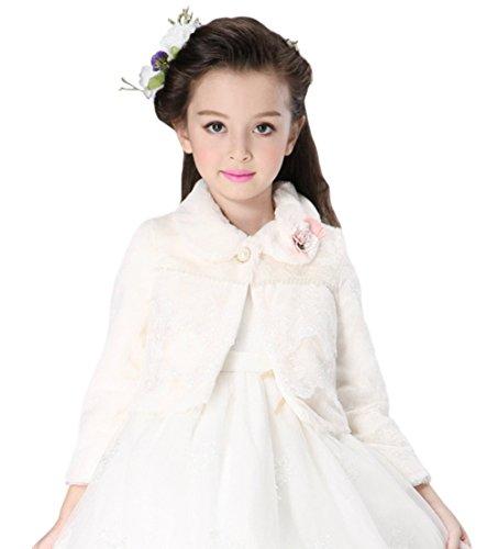 Kid Girls' Faux Fur Wedding Party Fuzzy Shrug Wrap Shawl Coat White 2-4 by Tortor 1Bacha
