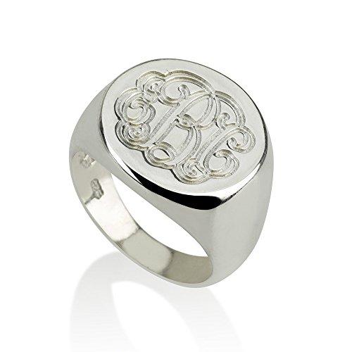 Monogram Ring - 925 Sterling Silver Monogram Ring-Initial Ring Personalized Ring (5) ()