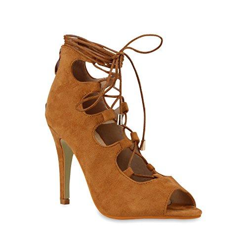 Stiefelparadies Damen Riemchensandaletten Metallic Schuhe Fransen Nieten Lack Sandaletten Sandal Boots Schaftsandaletten Velours Denim Samt Flandell Hellbraun Velours
