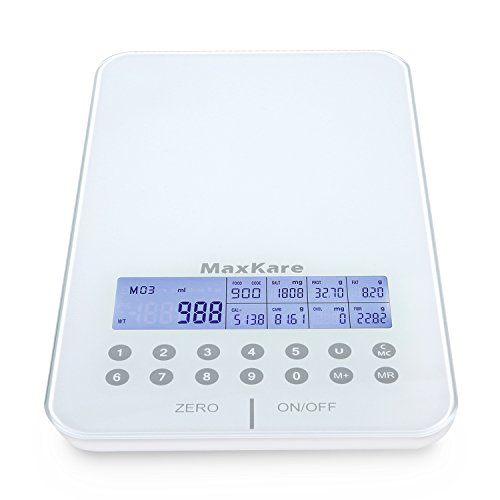 MaxKare Digital Nutrition Food Scale with Tempered Glass and Portions Nutritional Facts Display, Kitchen Scale with Automatic shut-off Function, Compatible with Vegetables, Fruits, and -