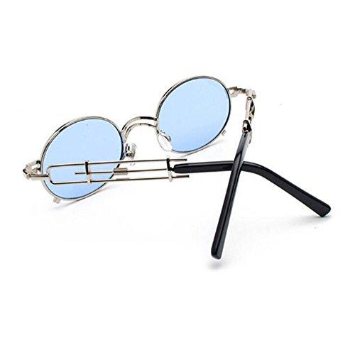 ovales Vintage métal soleil Classique en Bleu Fashion Argent lunettes Steampunk polarisé de Keephen Non zwTqqH