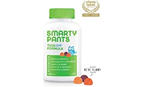 Daily Gummy Multivitamin Teen Guy: Biotin, Vitamin C, D3, E, B12, A, Omega 3 Fish Oil DHA/EPA, Zinc, Iodine, Choline, Folate (Methylfolate) by Smartypants (120 Count, 30 Day Supply) Packaging May Vary