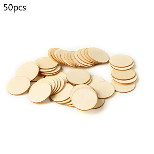 ZHENXI 50pcs Blank Natural Wood Pieces Slice Round Unfinished Wooden Discs Ornaments DIY Crafts Centerpieces