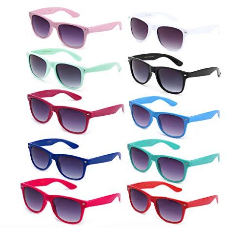 80's Classic Blue Brothers Horn Rimmed Style Retro Colors Packs Vintage Retro Sunglasses (Brothers Wayfarer Sunglasses Blues)