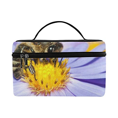 (Honey Bee Pollinate Yellow Flower Pattern Lunch Box Tote Bag Lunch Holder Insulated Lunch Cooler Bag For Women/men/picnic/boating/beach/fishing/school/work)