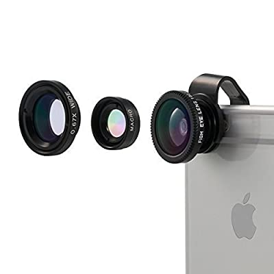 Camera Lens, Vinsic® Universal Detachable 180° Fish Eye Lens Wide Angle Lens Micro Lens 3 in1 Easy Use Camera Lens Kits Special for Apple iPhone Series, iPhone 6 6 Plus 5 5c 5s 4s 4 3