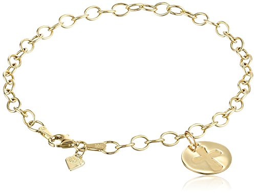 14k Yellow Gold Organic Cross Charm Bracelet by Amazon Collection