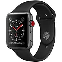 Apple Watch Series 3 (GPS + Cellular), 42mm Space Gray Aluminum Case with Black Sport Band - Grey (Certified Refurbished)